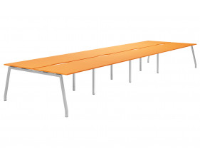 Campos A-Frame 8 Person Back To Back Bench Desk (Orange)