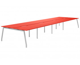 Campos A-Frame 8 Person Back To Back Bench Desk (Red)