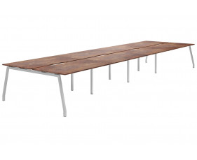 Lasso A-Frame 8 Person Back To Back Bench Desk (Rusted Steel)