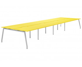 Campos A-Frame 8 Person Back To Back Bench Desk (Yellow)