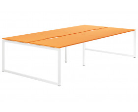 Campos Hooped Leg 4 Person Back To Back Bench Desk (Orange)