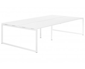 Campos Hooped Leg 4 Person Back To Back Bench Desk (White)
