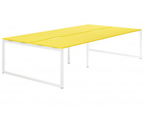 Campos Hooped Leg 4 Person Back To Back Bench Desk (Yellow)