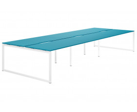 Campos Hooped Leg 6 Person Back To Back Bench Desk (Light Blue)