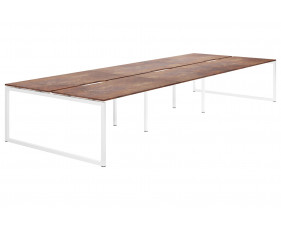 Lasso Hooped Leg 6 Person Back To Back Bench Desk (Rusted Steel)