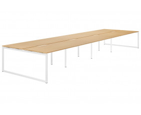 Lozano Hooped Leg Back To Back 8 Person Bench Desk (Beech)