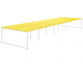 Campos Hooped Leg 8 Person Back To Back Bench Desk (Yellow)