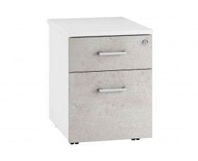 Lasso Low Mobile 2 Drawer Pedestal (Concrete)