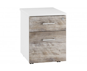 Lasso Low Mobile 2 Drawer Pedestal (Platinum Oak)
