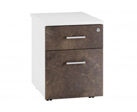Lasso Low Mobile 2 Drawer Pedestal (Pitted Steel)