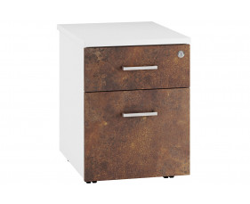 Delgado Low Mobile 2 Drawer Pedestal (Rusted Steel)
