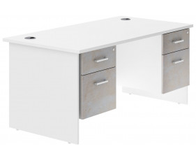 Delgado Panel End Double Pedestal Desk (Concrete)