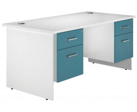 Solero Panel End Double Pedestal Desk (Light Blue)