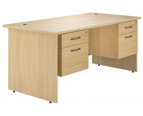 Astrada panel end double pedestal desk (oak)