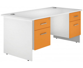 Solero Panel End Double Pedestal Desk (Orange)