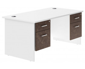 Delgado Panel End Double Pedestal Desk (Pitted Steel)