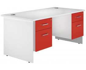 Solero Panel End Double Pedestal Desk (Red)