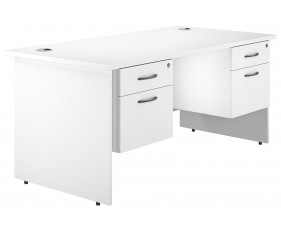 Astrada Panel End Double Pedestal Desk (White)