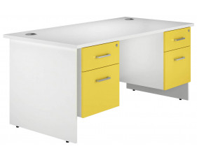 Solero Panel End Double Pedestal Desk (Yellow)