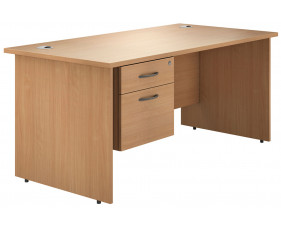 Astrada Panel End Single Pedestal Desk (Beech)