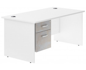 Delgado Panel End Single Pedestal Desk (Concrete)