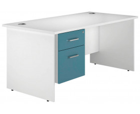 Solero Panel End Single Pedestal Desk (Light Blue)