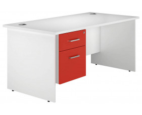 Solero panel end single pedestal desk (red)