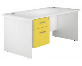 Solero Panel End Single Pedestal Desk (Yellow)
