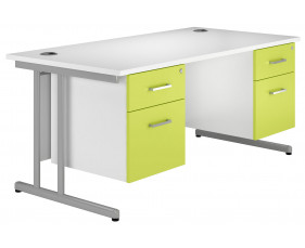 Solero C-Leg Double Pedestal Desk (Green)