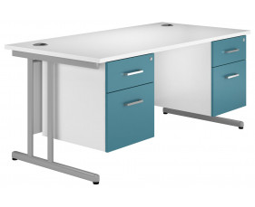Solero C-Leg Double Pedestal Desk (Light Blue)