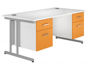 Solero C-Leg Double Pedestal Desk (Orange)