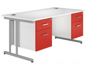 Solero C-Leg Double Pedestal Desk (Red)