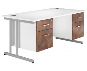 Delgado C-Leg Double Pedestal Desk (Rusted Steel)
