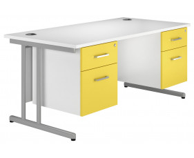 Solero C-Leg Double Pedestal Desk (Yellow)
