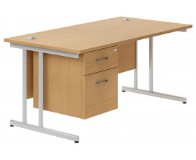 Astrada C-Leg Single Pedestal Desk (Beech)