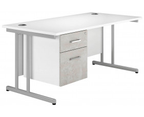 Delgado C-Leg Single Pedestal Desk (Concrete)
