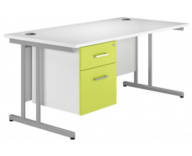 Solero C-Leg Single Pedestal Desk (Green)