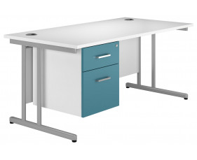 Solero C-Leg Single Pedestal Desk (Light Blue)