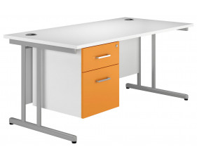 Solero C-Leg Single Pedestal Desk (Orange)