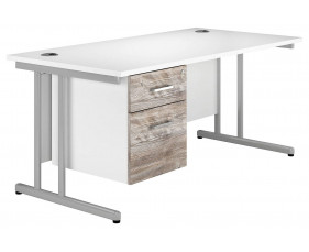 Delgado C-Leg Single Pedestal Desk (Platinum Oak)