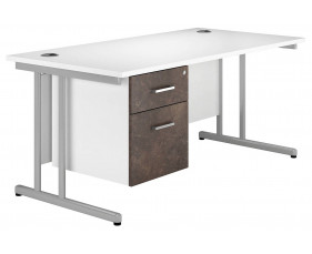 Delgado C-Leg Single Pedestal Desk (Pitted Steel)