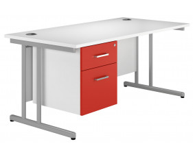 Solero C-leg single pedestal desk (red)