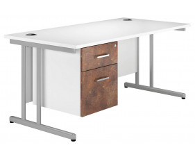 Delgado C-Leg Single Pedestal Desk (Rusted Steel)