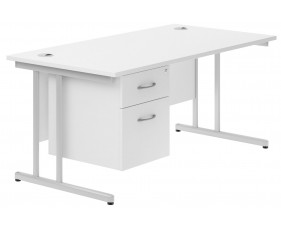 Astrada C-Leg Single Pedestal Desk (White)