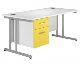Solero C-Leg Single Pedestal Desk (Yellow)