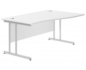 Astrada C-Leg Right Hand Wave Desk (White)