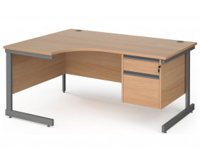 Value Line Classic+ C-Leg Left Ergo Desk 2 Drawers (Graphite Leg)