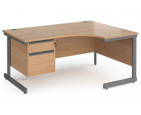 Value Line Classic+ C-Leg Right Ergo Desk 2 Drawers (Graphite Leg)