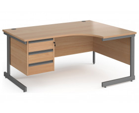 Value Line Classic+ C-Leg Right Ergo Desk 3 Drawers (Graphite Leg)