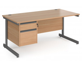 Value Line Classic+ Rectangular C-Leg Desk 2 Drawers (Graphite Leg)